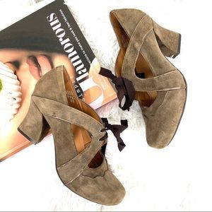 Earthies Sarenza too Dark leather suede taupe 7.5
